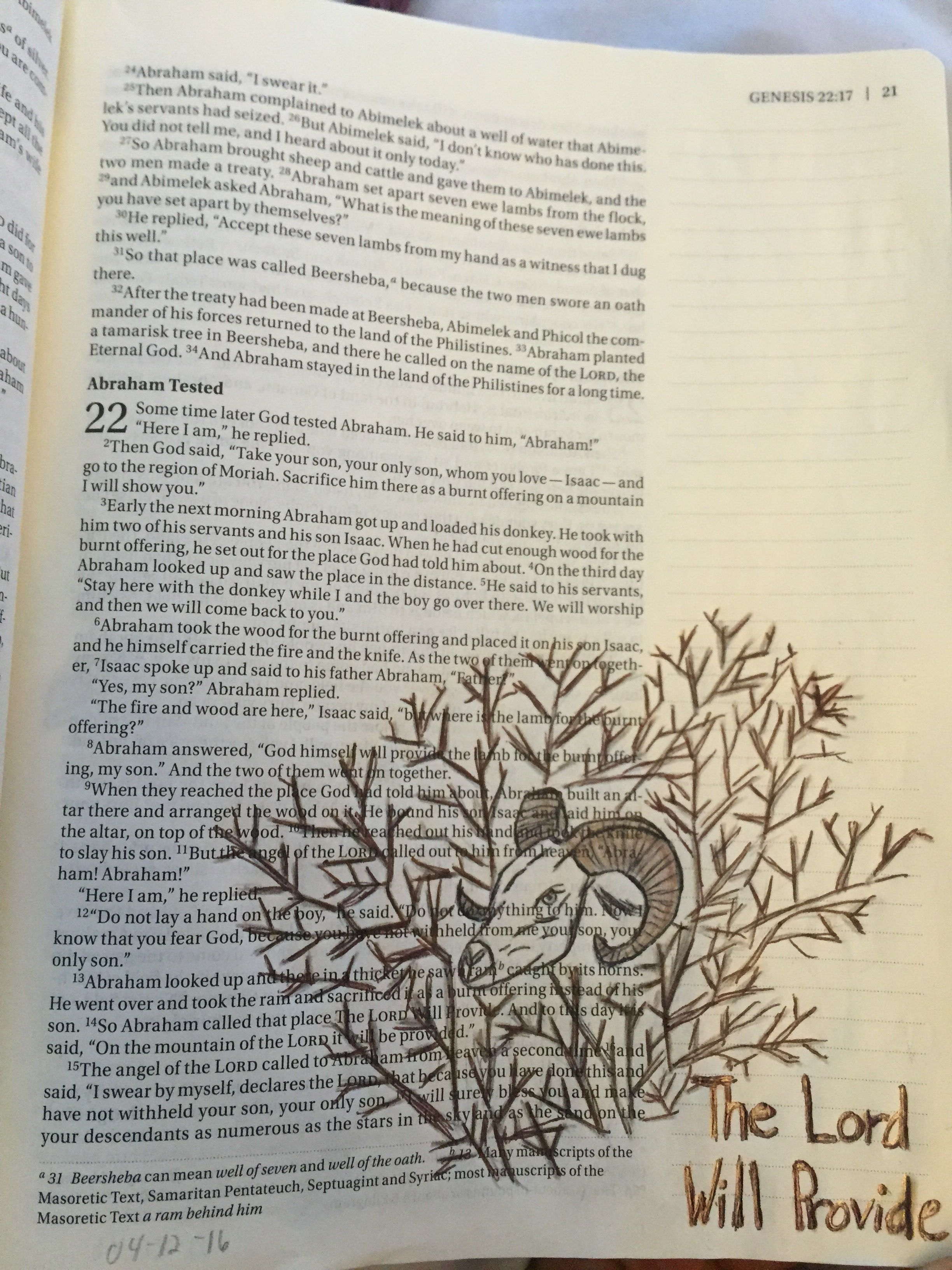 biblejournaling genesis 22 as abraham was about to sacrifice his