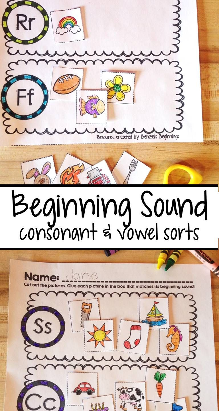 Beginning sound sort consonants vowels bundle vowel sounds 20 letter sorts to practice beginning sounds worksheets feature both initial consonant sounds and initial robcynllc Images