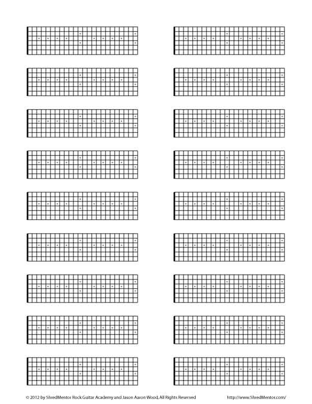Blank Tab Fretboard Diagrams Other Guitar Resources Shred