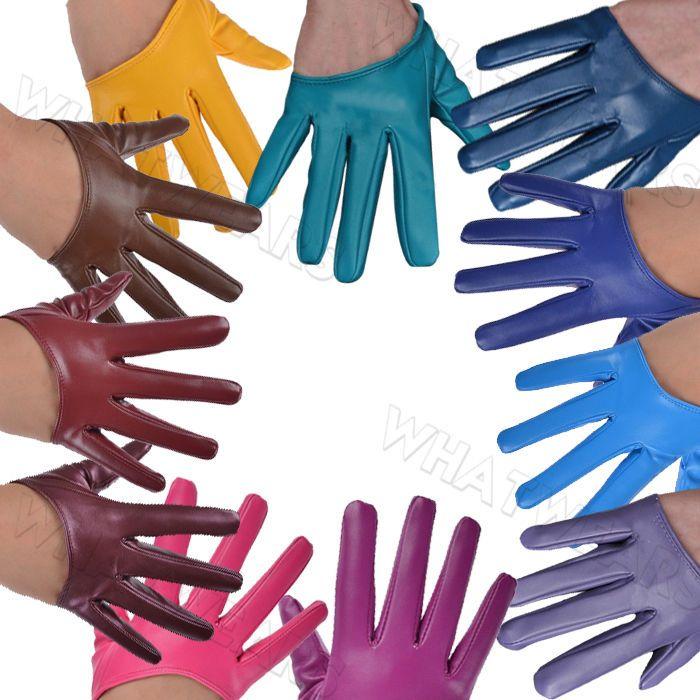 Hot Women's Faux Leather Half Five Finger Half Palm Warm Gloves Mittens   IUK