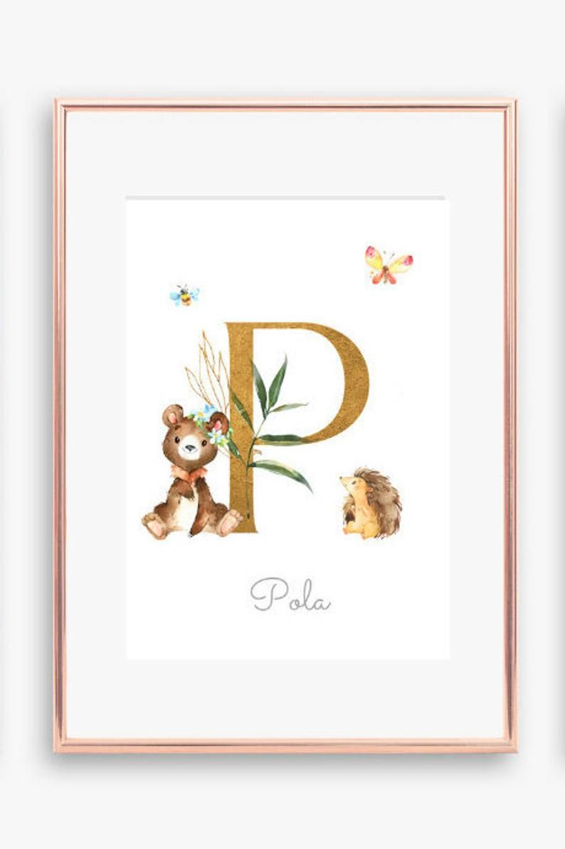 Monogram Initial Print Nursery Letter P R S Boho Letter With Name Personalised Print Woodland Animals Art Printable Nursery Art Initial Prints Personalized Prints