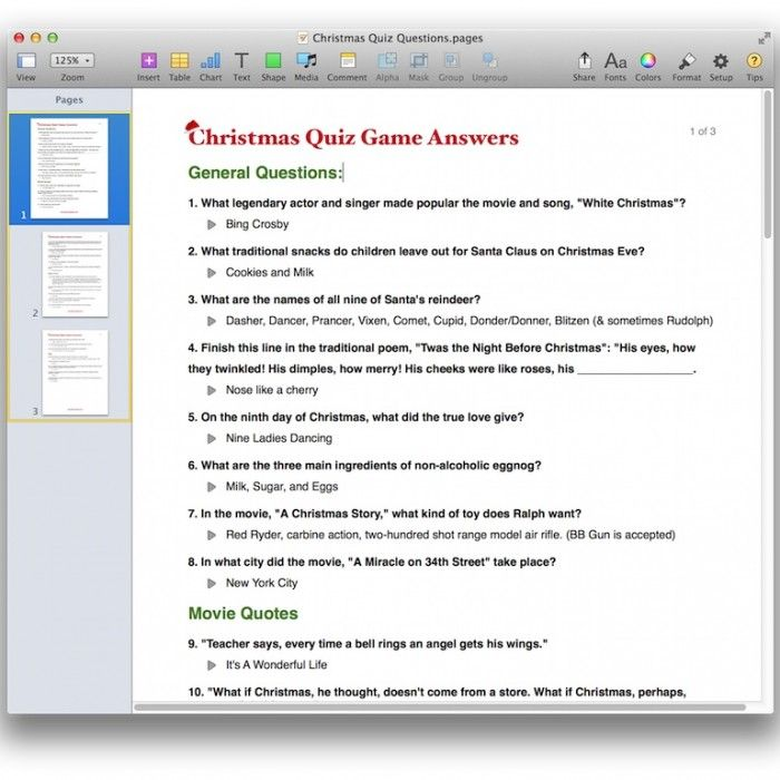 Christmas Quiz Game Template for PDF or Pages | Pinterest ...