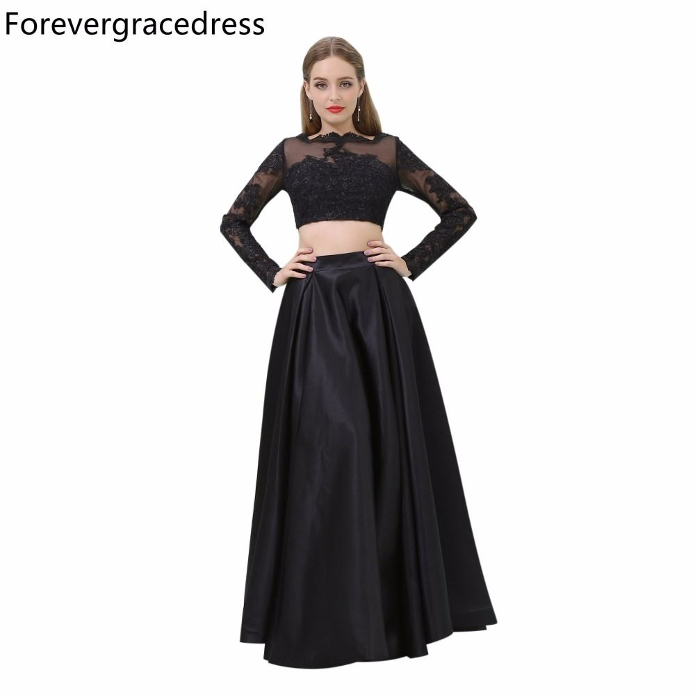 Forevergracedress Black Color Prom Dress Sexy Two Piece Long Sleeves Lace Evening  Party Gown Plus Size c14c6ef7a4c7