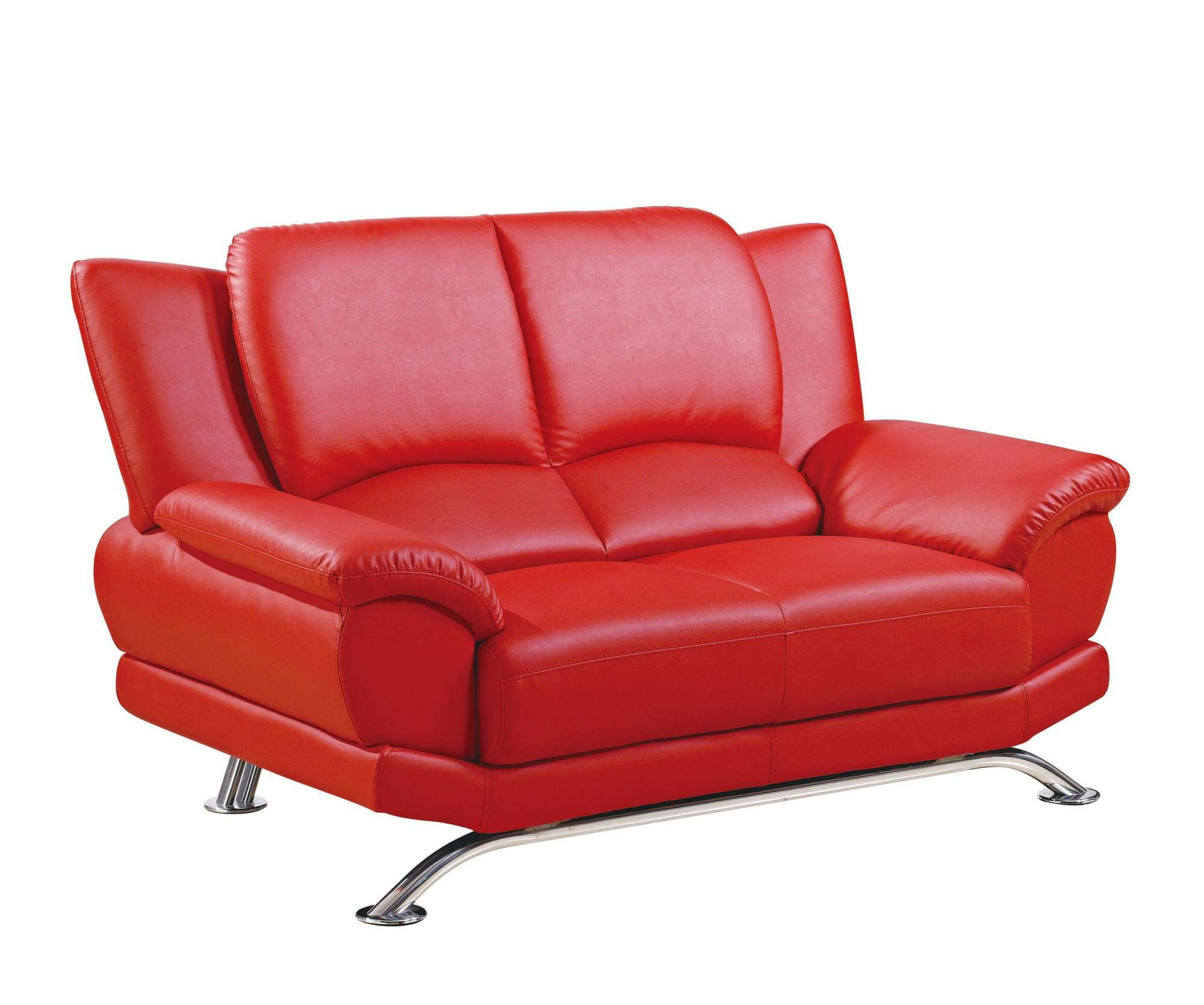 Lowest Price On Global Red Bonded Leather Loveseat With Chrome Legs U9908 R6v Red L M Shop Today Global Furniture Usa Furniture Bonded Leather Chair