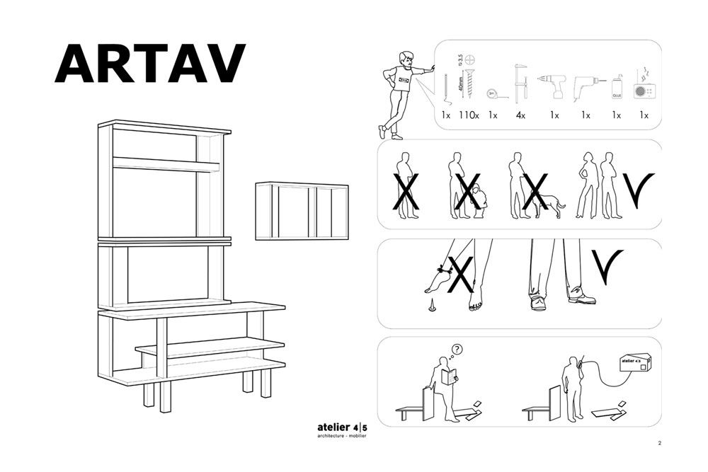With Artav, l'Atelier 4/5 revisits a classic Ikea chest of drawers into a bookcase