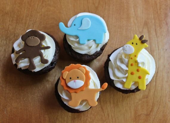 Jungle Animal Edible Cake Toppers - Fondant Monkey, Lion, Giraffe, Elephant! Great kids birthday cake and cupcake toppers