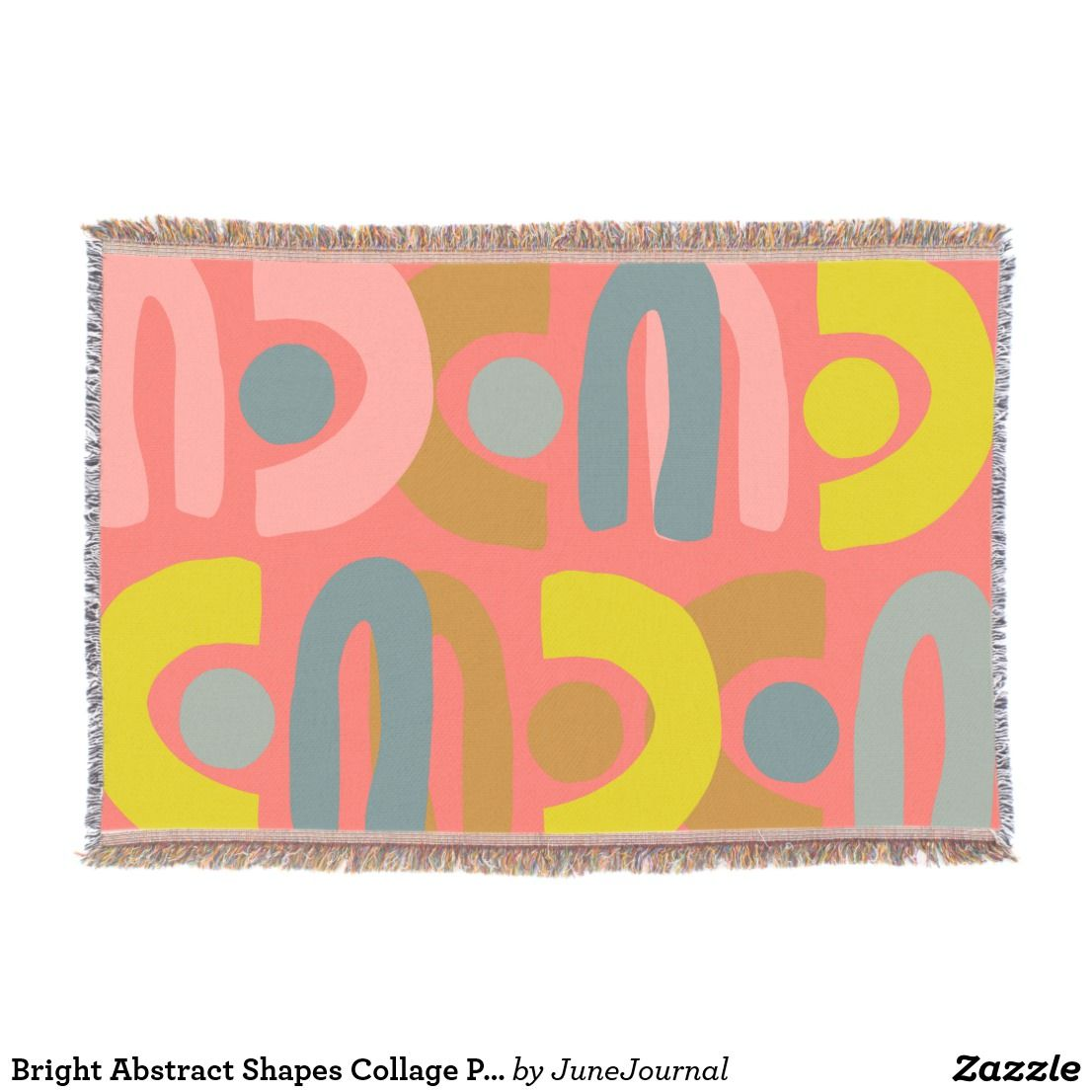 Bright Abstract Shapes Collage Painting In Coral Throw Collage Blanket Shape Collage Dorm Room Designs
