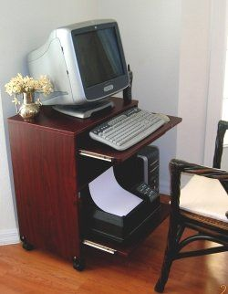 Amazoncom Narrow Computer Laptop Desk Wsliding Printer Shelf 24
