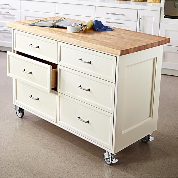 Rolling kitchen island woodworking plan. Kitchens and