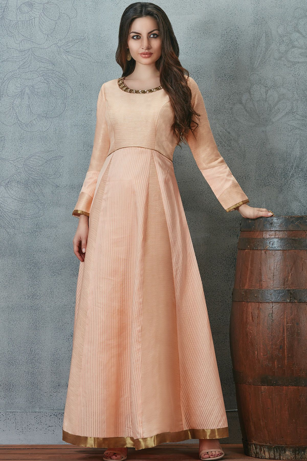 Peach raw silk zari embroidered designer salwarsl buy online