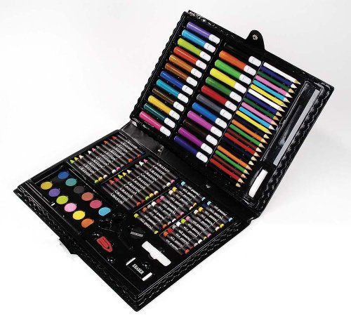 darice deluxe art set this arty facts set overflows with color and creativity look at the possibilities markers pencils pastels watercolors and