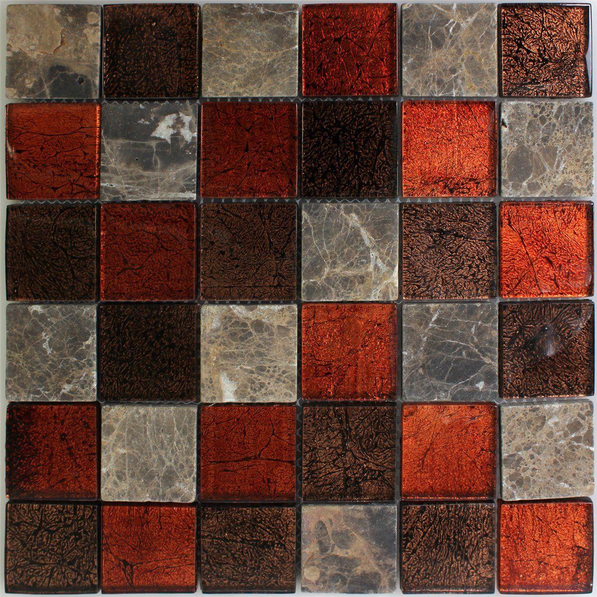 Naturstein glas mosaik fliesen rot braun 48x48x8mm home pinterest - Mosaik fliesen braun ...