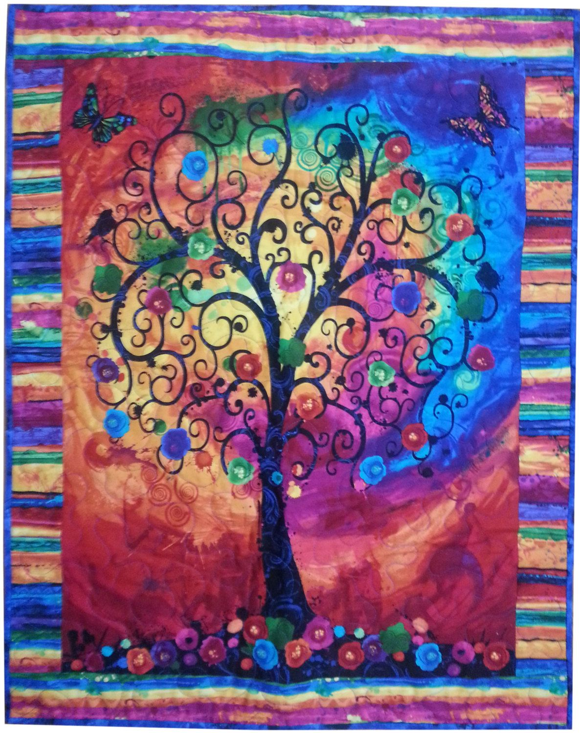 Wall Quilt Tree Of Life Quilt Bright Tree Quilt Wall