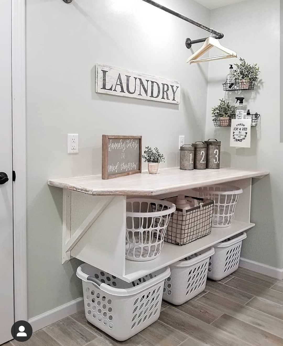 "Farmhouse Stylebook on Instagram: ""Simple and sweet laundry room  Follow us ----------> @farmhousestylebook for more home decor ideas  Home belongs to @blessed_ranch…"""