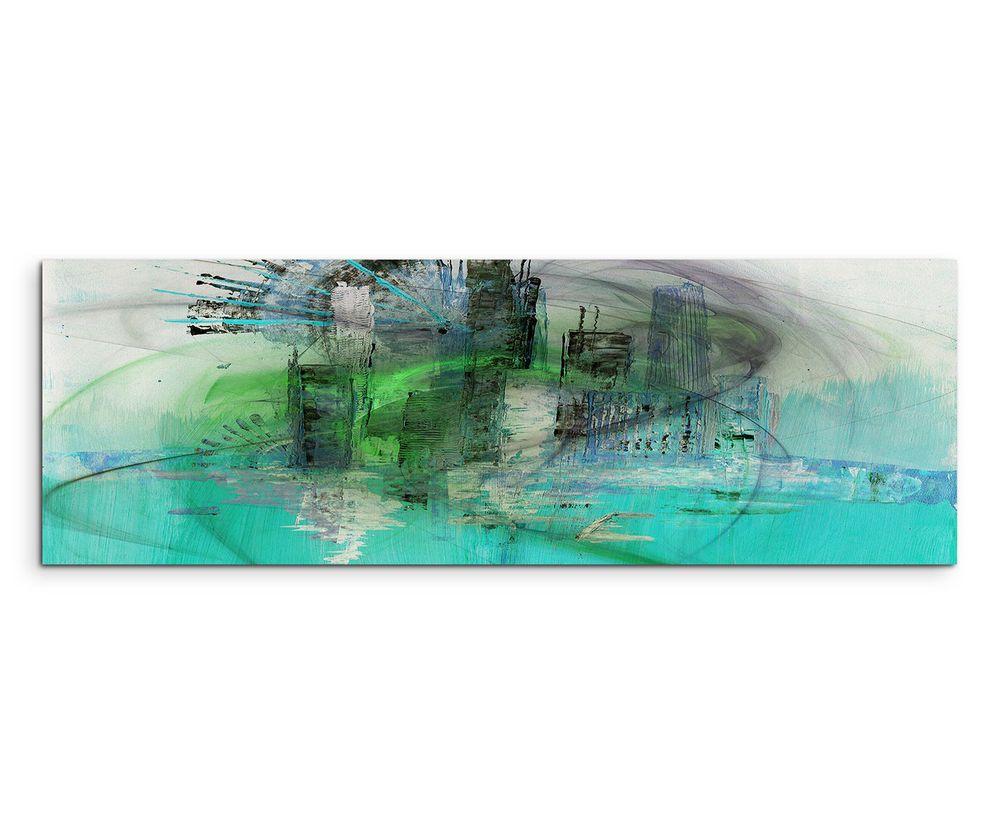 150x50cm panoramabild paul sinus art abstrakt grun blau grau creme wohnzimmer ebay bilder moderne malerei kaufen gemälde modern