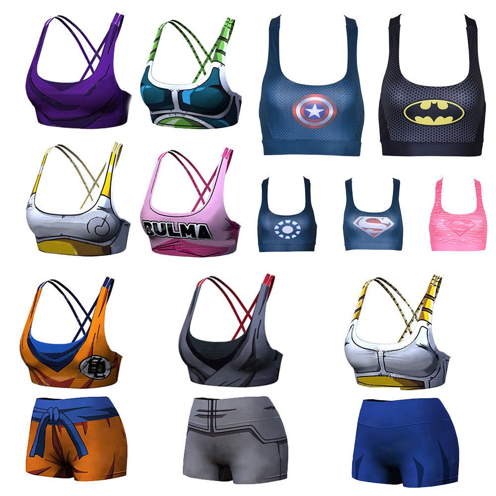 b056bfd52e Dragon Ball Z Superhero Sexy Yoga Tank Top Shorts Sport Bra Crop Top  Bustier  Unbrand  Casual