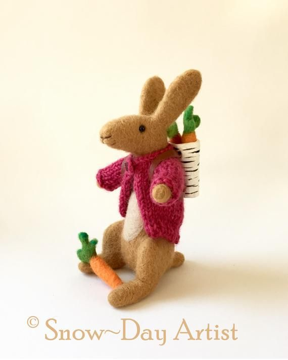 Each one Unique Hand Made Felt Hare Hand Knitted Jumpers