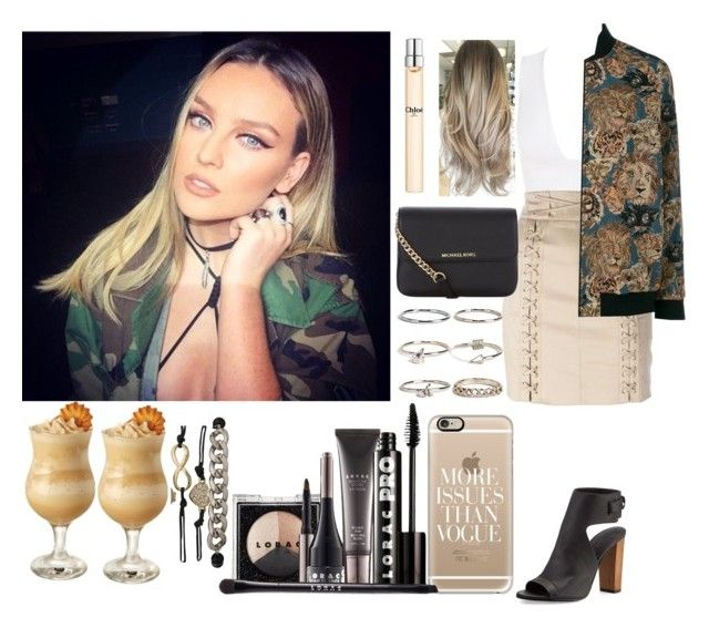 """Night out with Perrie"" by zandramalik ❤ liked on Polyvore featuring Balmain, Yves Saint Laurent, Vince, MICHAEL Michael Kors, Chloé, Boohoo, Casetify and LORAC"