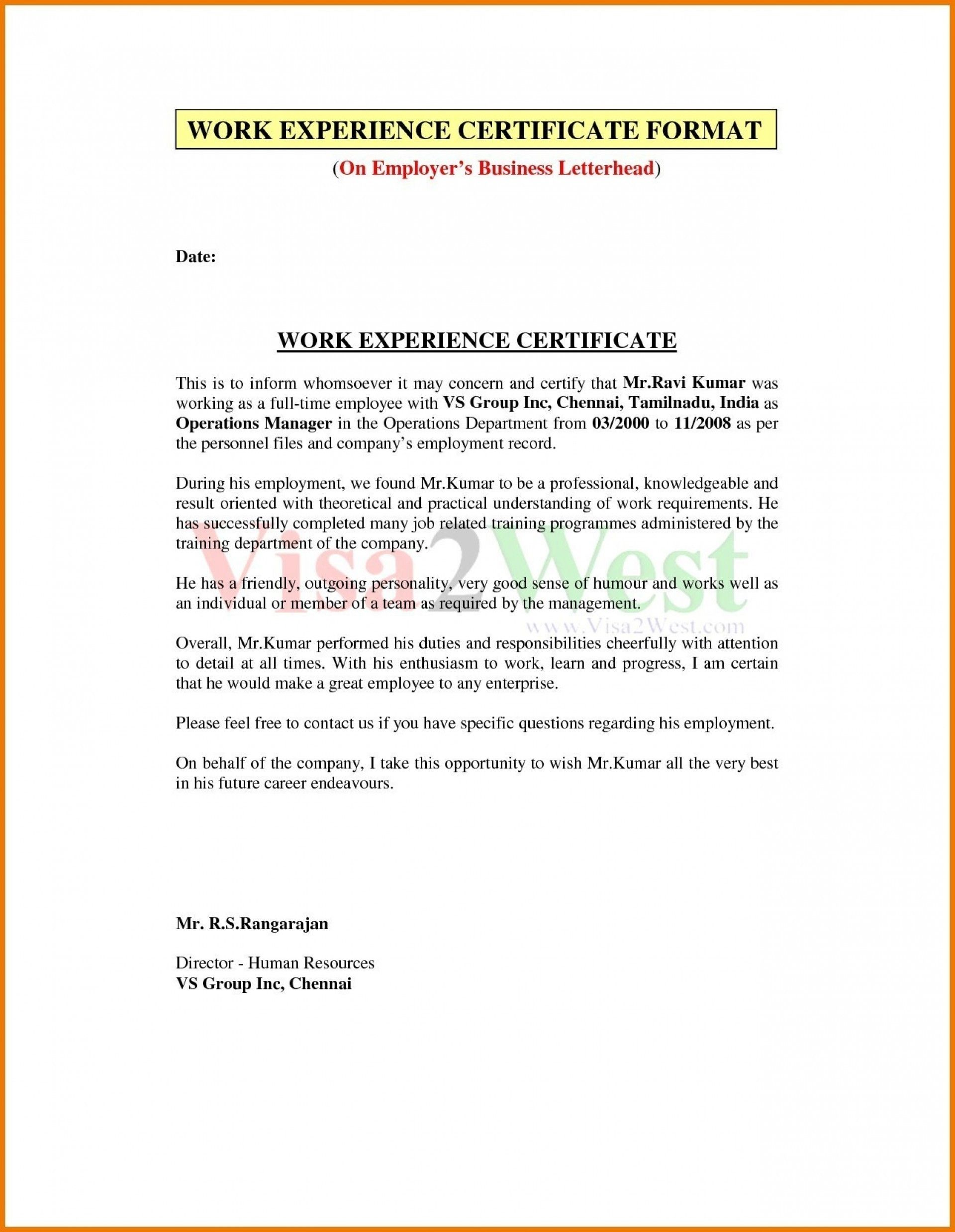 New Security Guard Experience Certificate Format Certificate