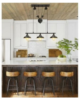 Kingso Two Three Light Pulley Pendant Light Kitchen Island Light Adjustable Industrial Rustic Chandelier Farmhouse Vintage Ceiling Lights Fixture For Kitchen I Kitchen Island Lighting Vintage Ceiling Lights Pulley Pendant Light