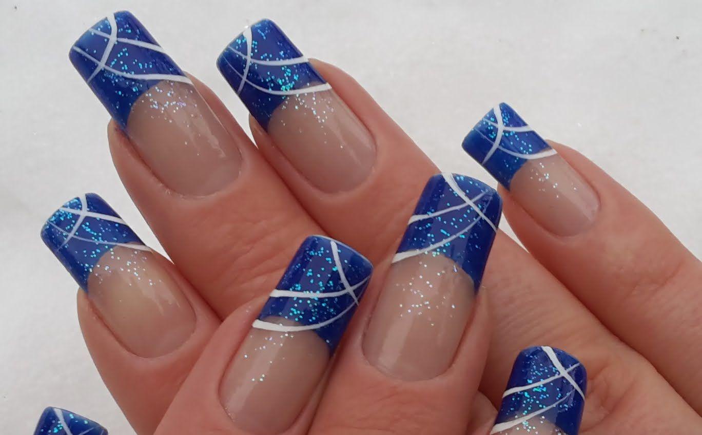Einfaches schlichtes blaues Nageldesign selber machen / Simple chic ...