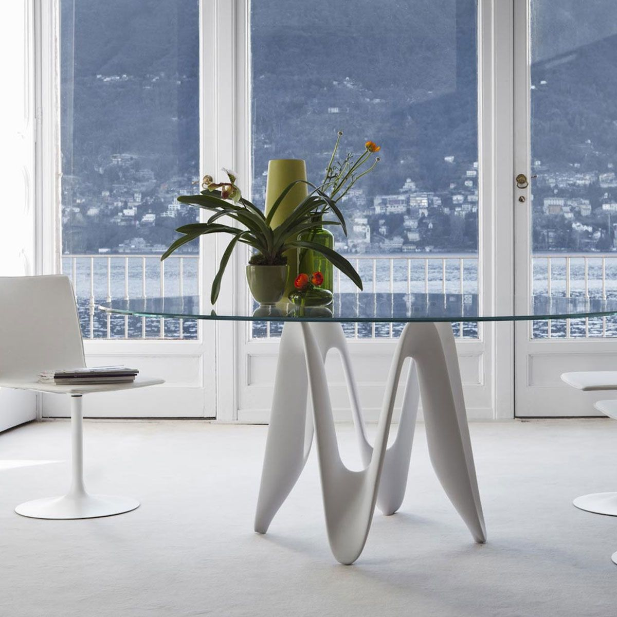 Lambda Glass Top Dining Table by Sovet Italia Klarity