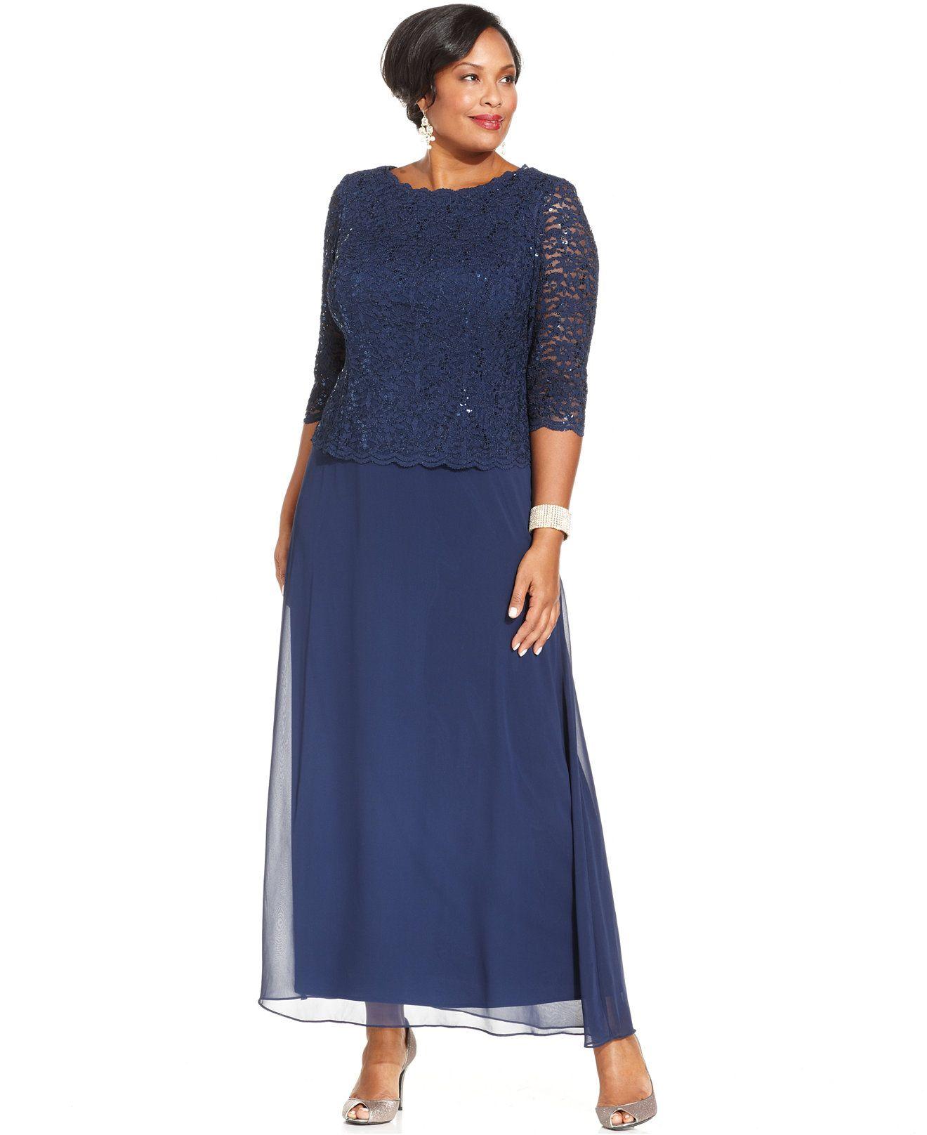 Alex Evenings Plus Size Sequined Lace Gown Quarter Sleeve Gowns