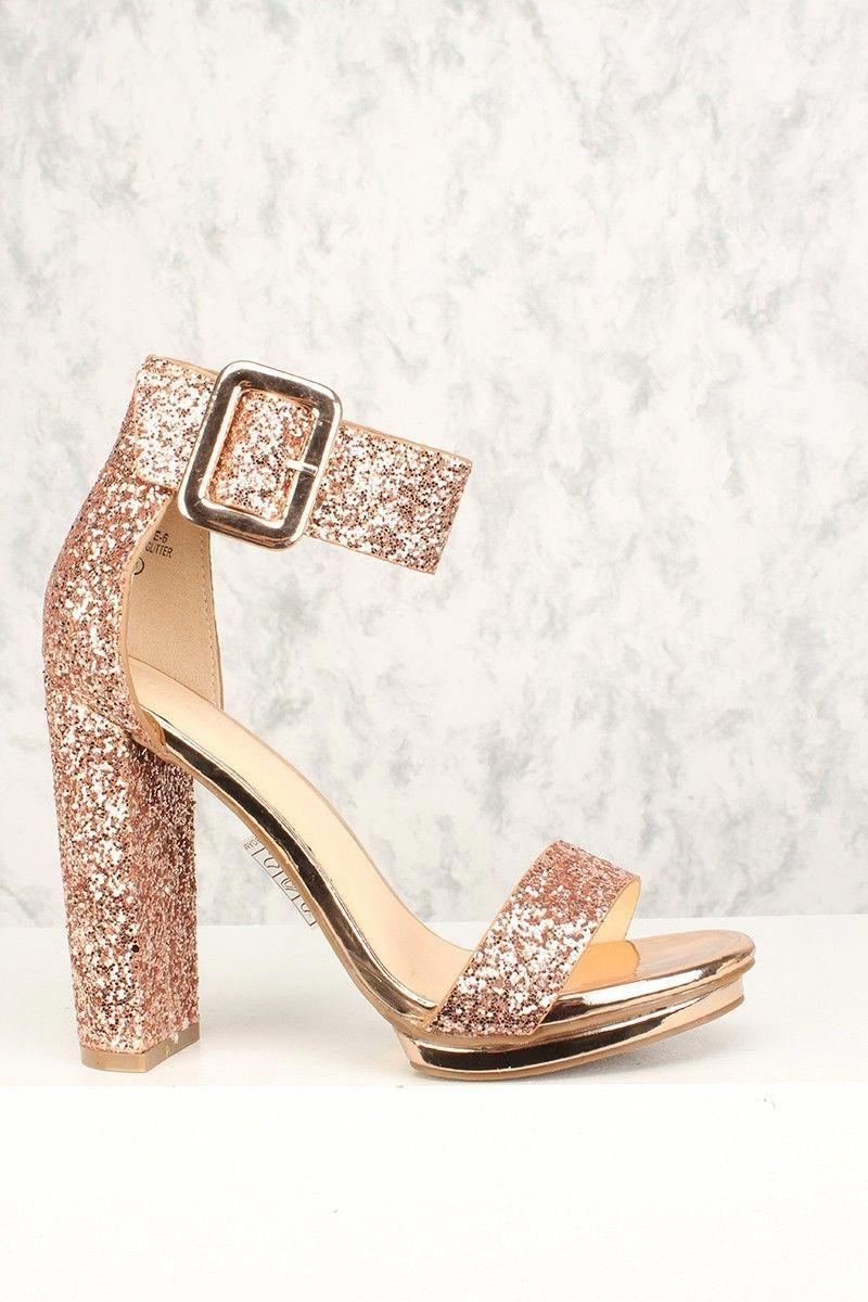 66582966fe Buy Sexy Rose Gold Chunky Heel Platform Pump Open Toe High Heels ...