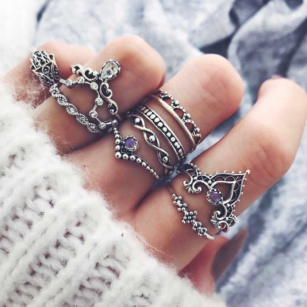 Pcs set retro silver gold arrow moon midi finger knuckle rings