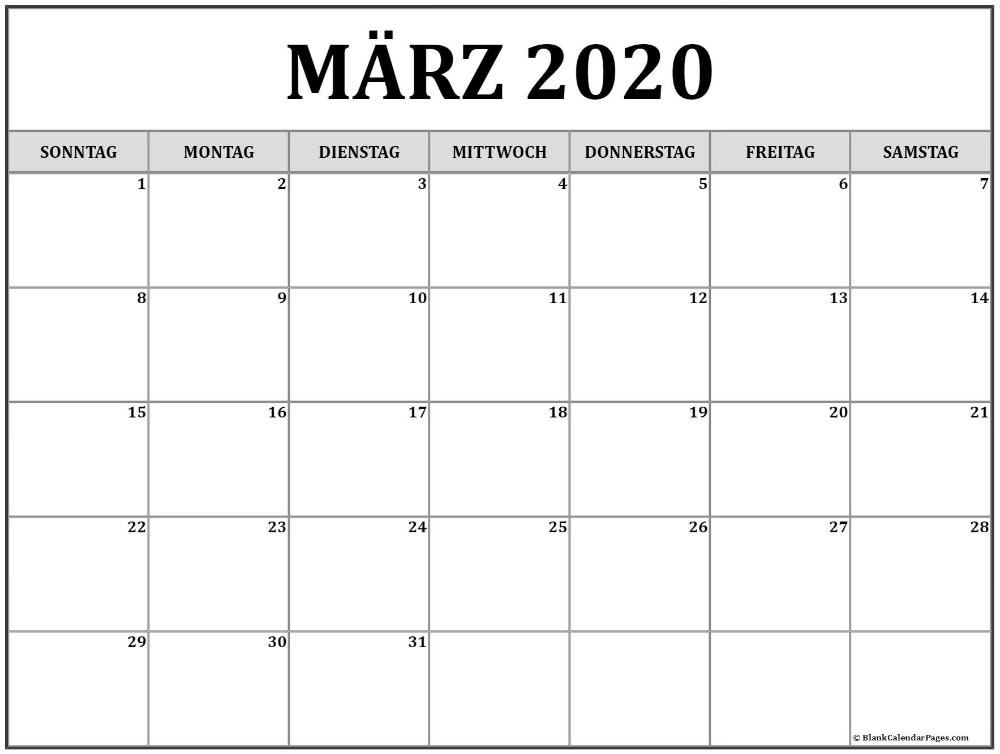 Marz 2020 Kalender Kalender 2020 In 2020 Kalender Zum Ausdrucken Kalender Januar Kalender