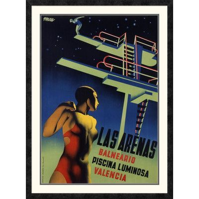 "Global Gallery 'Las Arenas' by Josep Renau-Montoro Framed Vintage Advertisement Size: 42"" H x 31"" W x 1.5"" D"