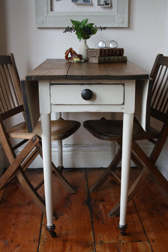 Restored Vintage Pine Drop Leaf Table With Single By