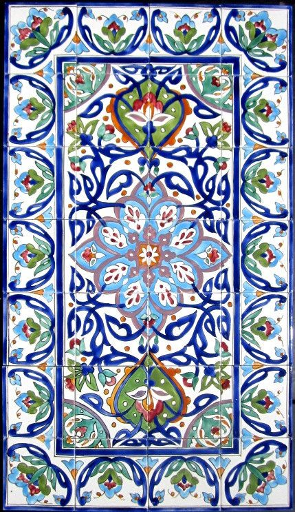Persian ceramic tiles persian design mosaic panel hand for Ceramic mural tiles