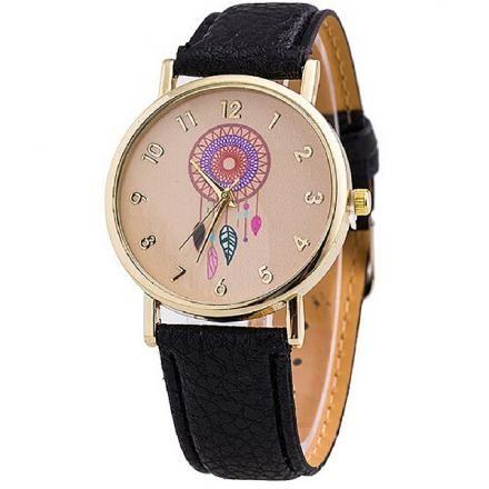 Compra Reloj Analógico Diseño Atrapasueños con Correa de Cuero para Mujer- Negro online ✓ Encuentra los mejores productos Relojes tipo skeleton mujer  ... a74aaafd3fe8