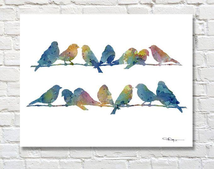 Decoración de la pared pájaro impresión arte - \