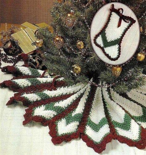 X306 Crochet PATTERN ONLY Ripple Holiday Tree Skirt / Stocking ...