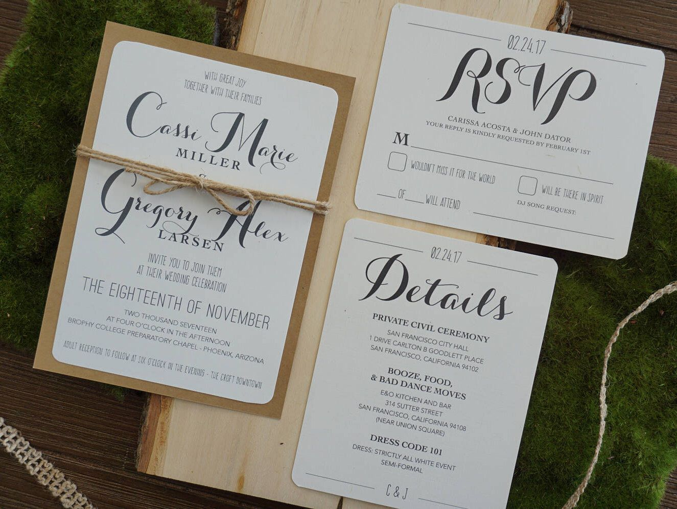 Farm Style Wedding Invitations: Rustic Wedding Invitation Assembled With RSVP And Detail