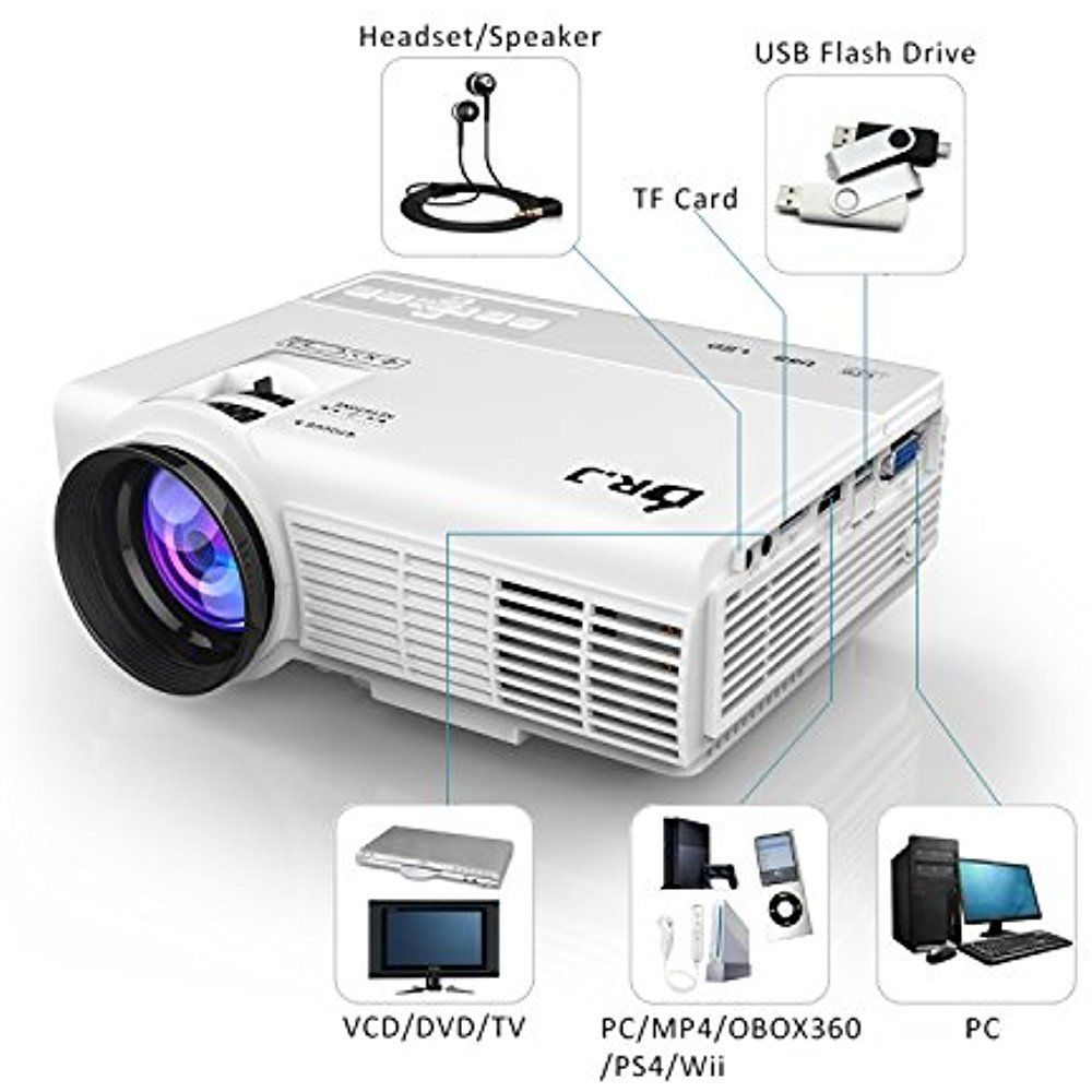 j Projector Mini Lumens 1080p Dr Video 1500 Hd Usb Full Hdmi Vga Led SzUpMVq