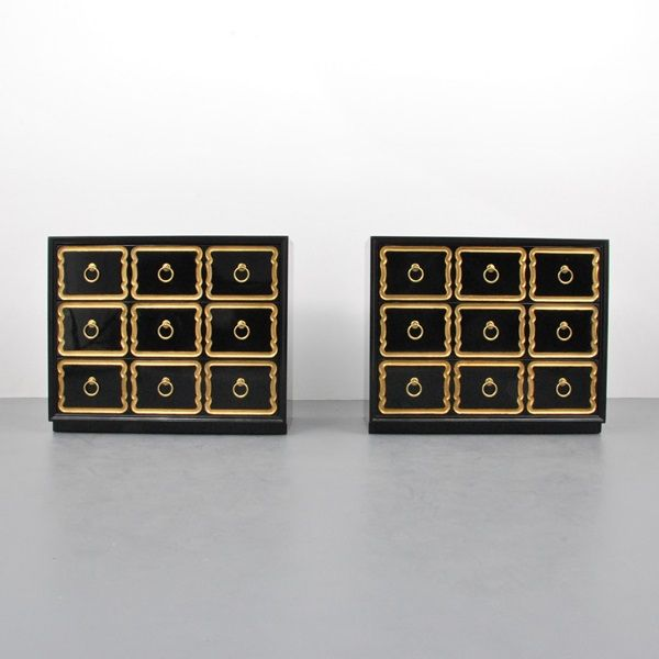 """528: Dorothy Draper 'Espana' Chests  DESIGNER & MANUFACTURER: Dorothy Draper; Heritage Henredon  ORIGIN & MATERIALS: USA; wood, metal  MARKINGS: marked  ADDITIONAL INFORMATION: Pair of 'Espana' chests/dressers by Dorothy Draper.  DIMENSIONS: 31.5""""h, 38""""w, 20""""d  CONDITION: very good, minor scratches and wear consistent with age and light use  ESTIMATE: $3000 - 4000"""