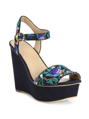 0d41aceab TORY BURCH Sonoma Embroidered Wedge Platform Sandals.  toryburch  shoes   sandals Blue Wedge