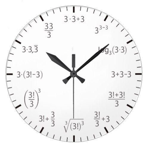Math Clock Three Times Three Simple Beautyful Zazzle Com