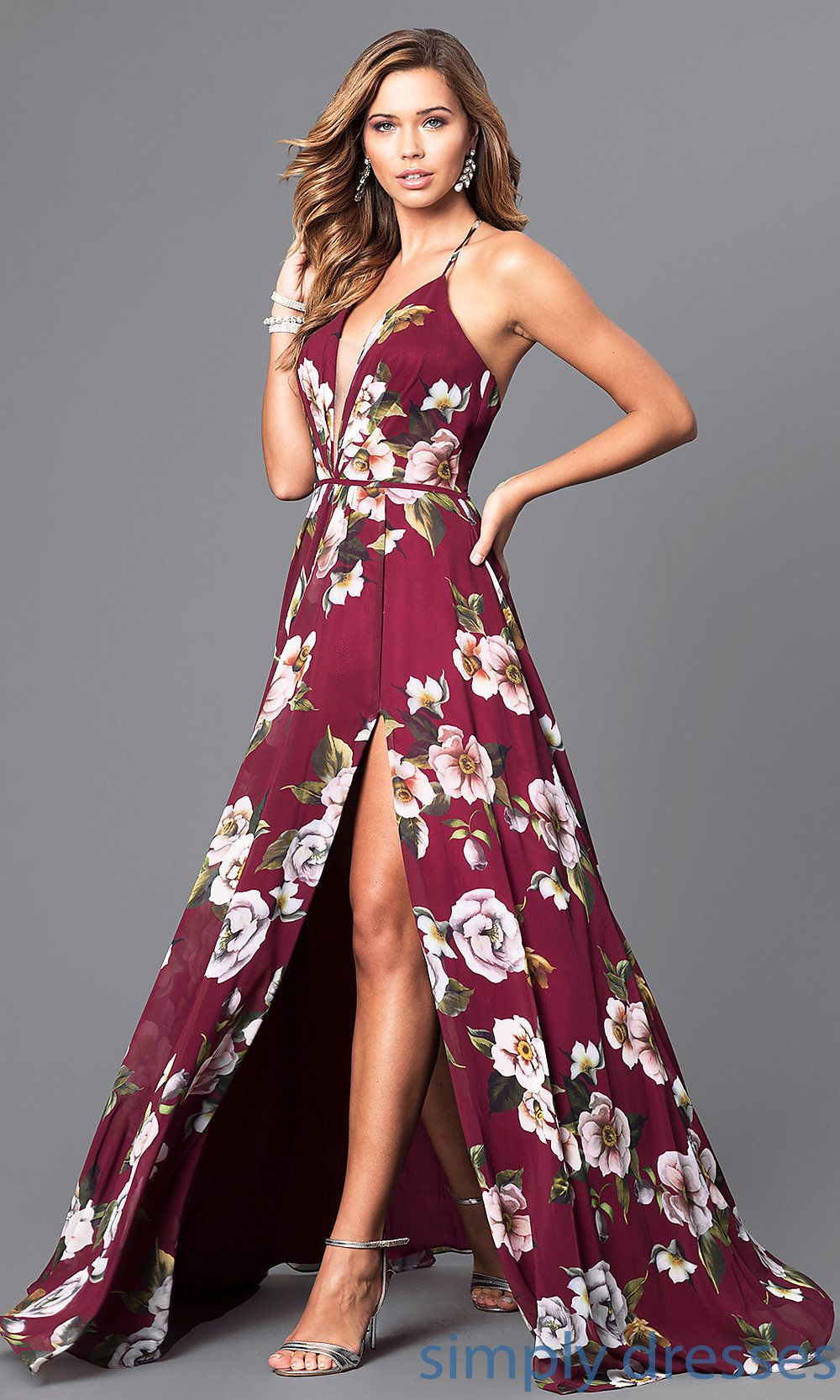 Fa faviana floorlength vneck floral print formal dress