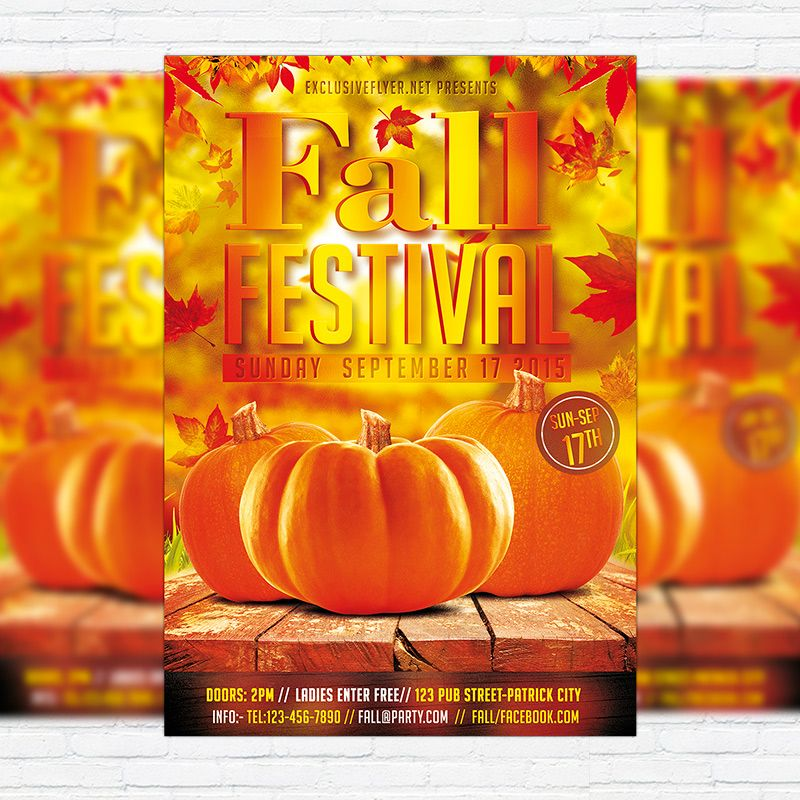 Autumn/Fall Festival - Premium Flyer Template + Facebook Cover ...