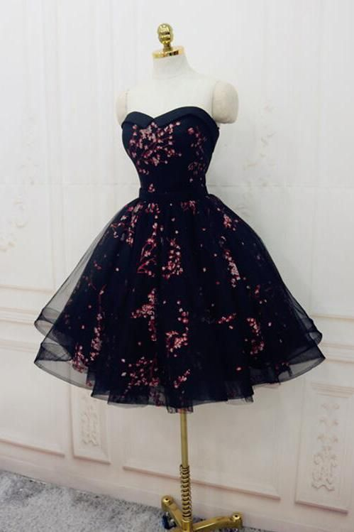 Cute Sweetheart Lace up Navy Blue Strapless Homecoming Dresses Short Prom Dresses