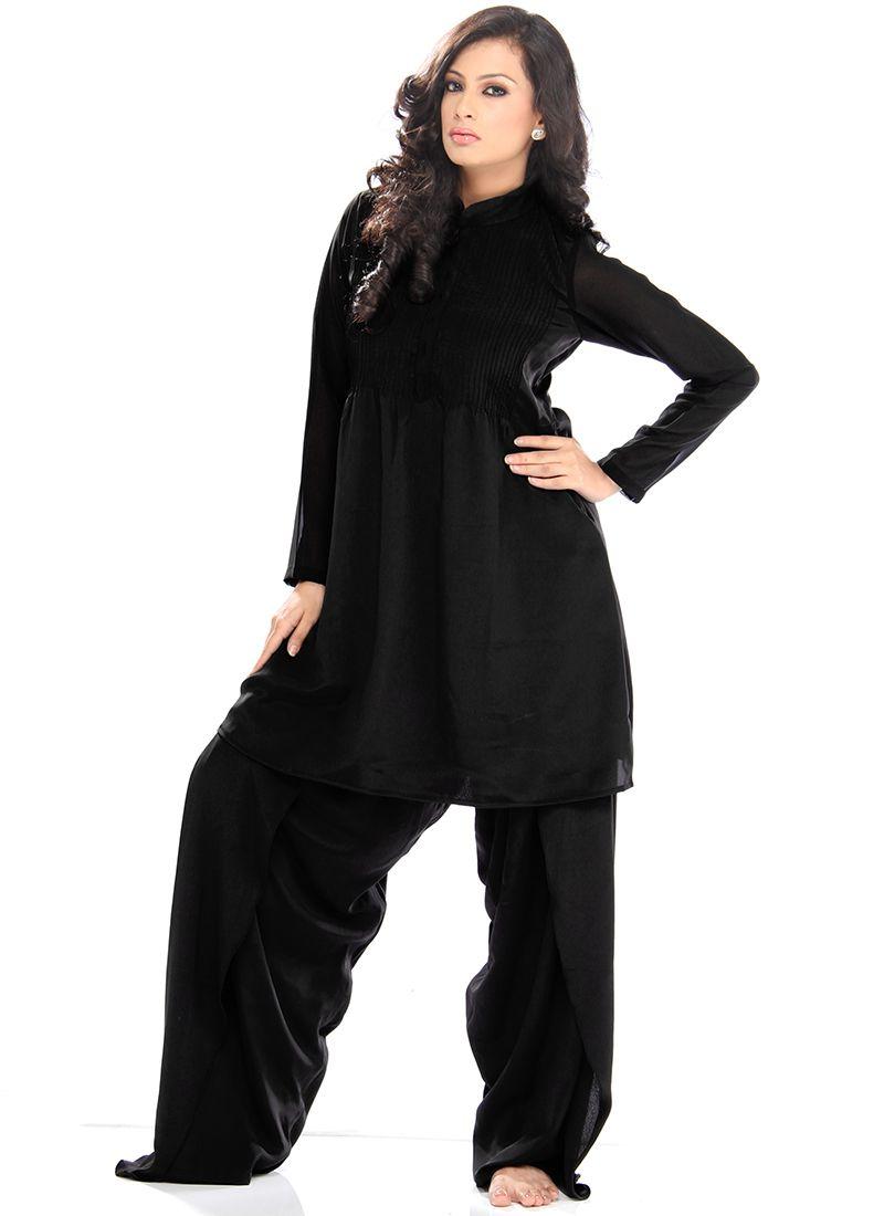 Pretty Black Crepe Salwar Suit | Attractive Churidars | Pinterest ...