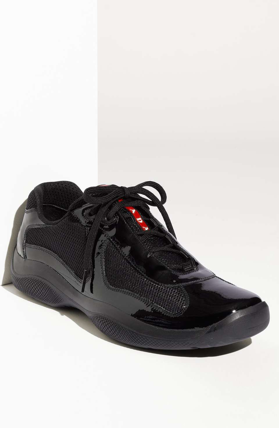Black Leather and Mesh Sneakers Prada Tv7mzPAg