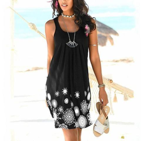 Women Printed Pleated Sleeveless Casual Dress – jullymart