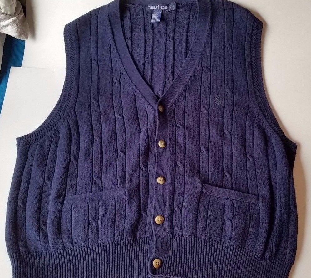 NAUTICA Mens Cardigan Sweater Vest Navy Blue Cotton Button Up L ...