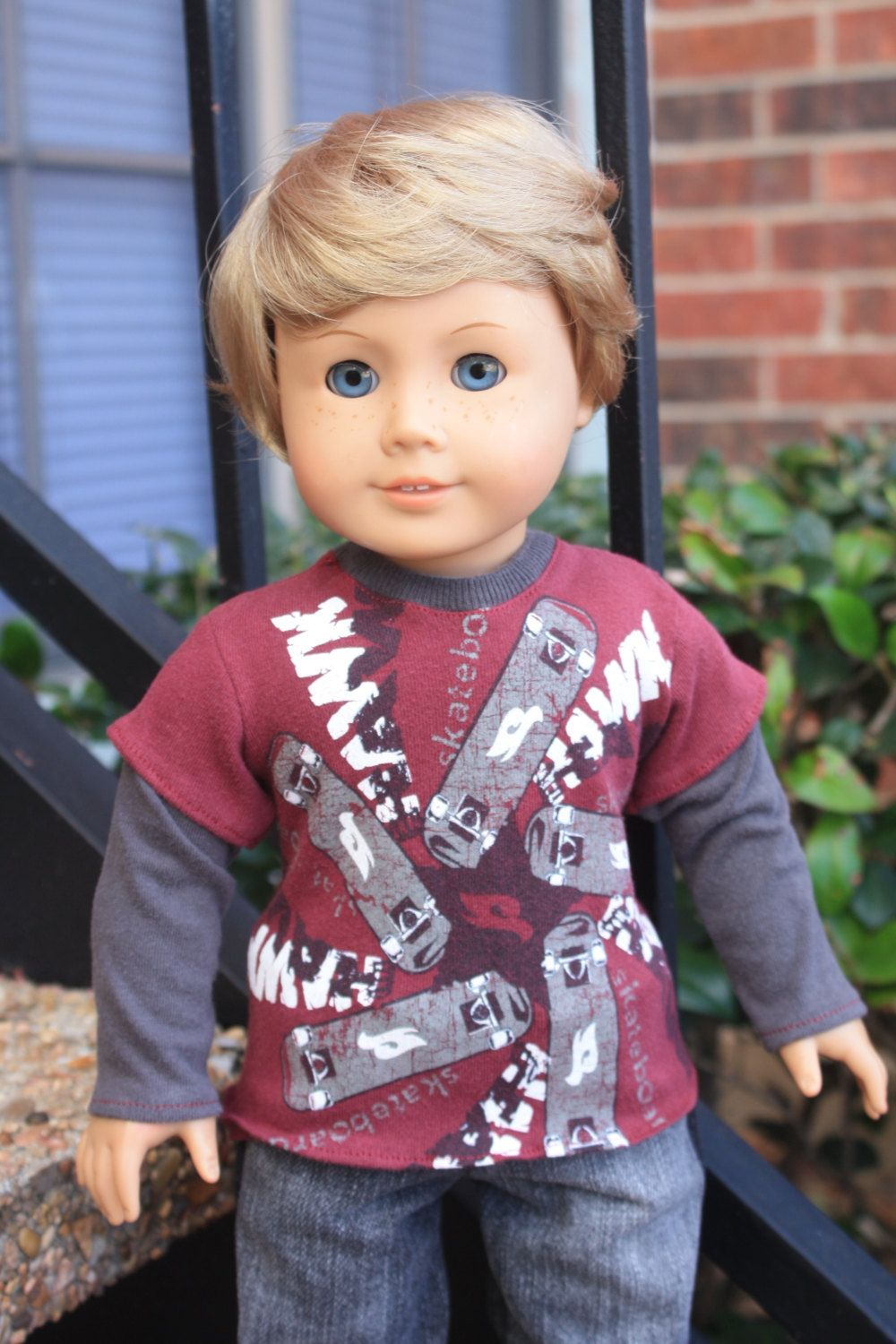 6180db5e77572 Maroon Tony Hawk Skateboarding Longsleeved Tee - For American Girl ...
