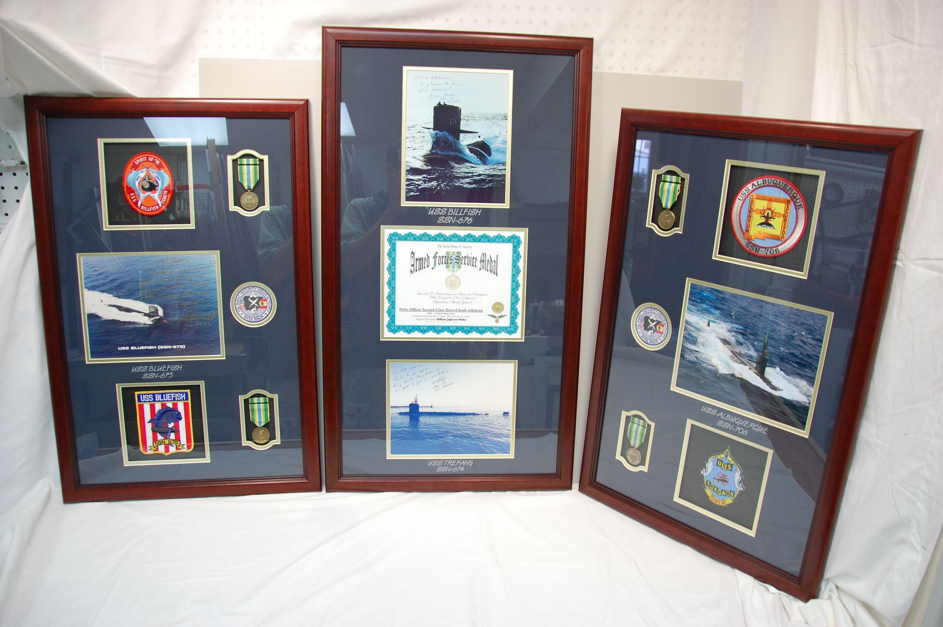 Us Navy Submarine 3Pc Frame Display